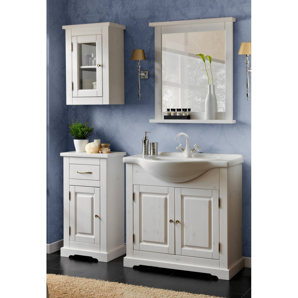 Badezimmer Möbel Set inkl. Waschtisch mit Keramik-Waschbecken LIRIA-56, Massivholz weiß B x H x T ca.: 145 x 200 x 43 cm