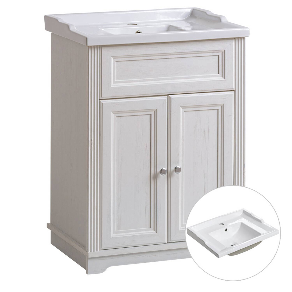Badmöbel Waschtischunterschrank inkl. Retro Keramik-Becken 60 cm CELAYA-56, Andersen Pine weiß, B x H x T ca. 60 x 79 x 45cm