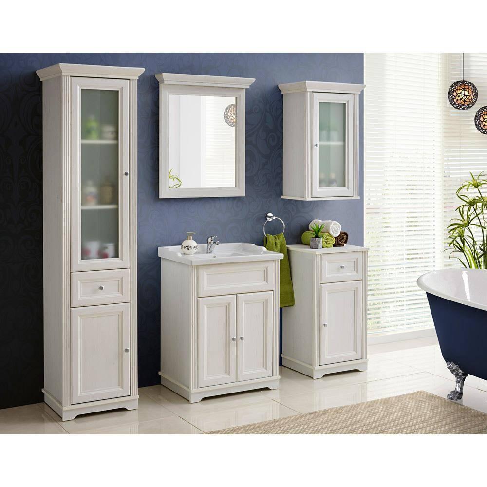 Badmöbel Set inkl. 60 cm Waschtisch mit Retro Keramik-Becken CELAYA-56, Andersen Pine weiß, B x H x T ca. 181 x 200 x 45cm
