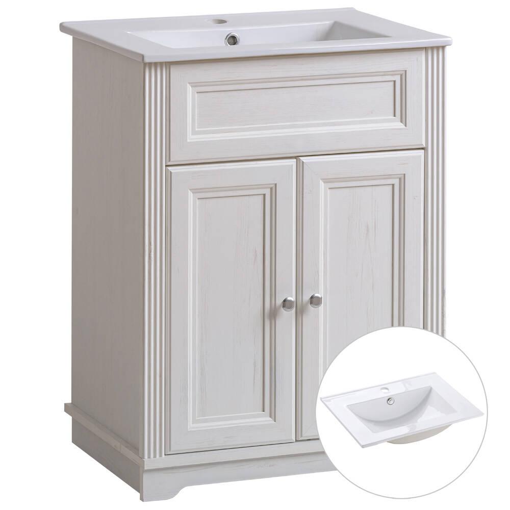 Badmöbel Waschtischunterschrank inkl. Keramik-Becken 60 cm CELAYA-56, Andersen Pine weiß, B x H x T ca. 60 x 79 x 45cm