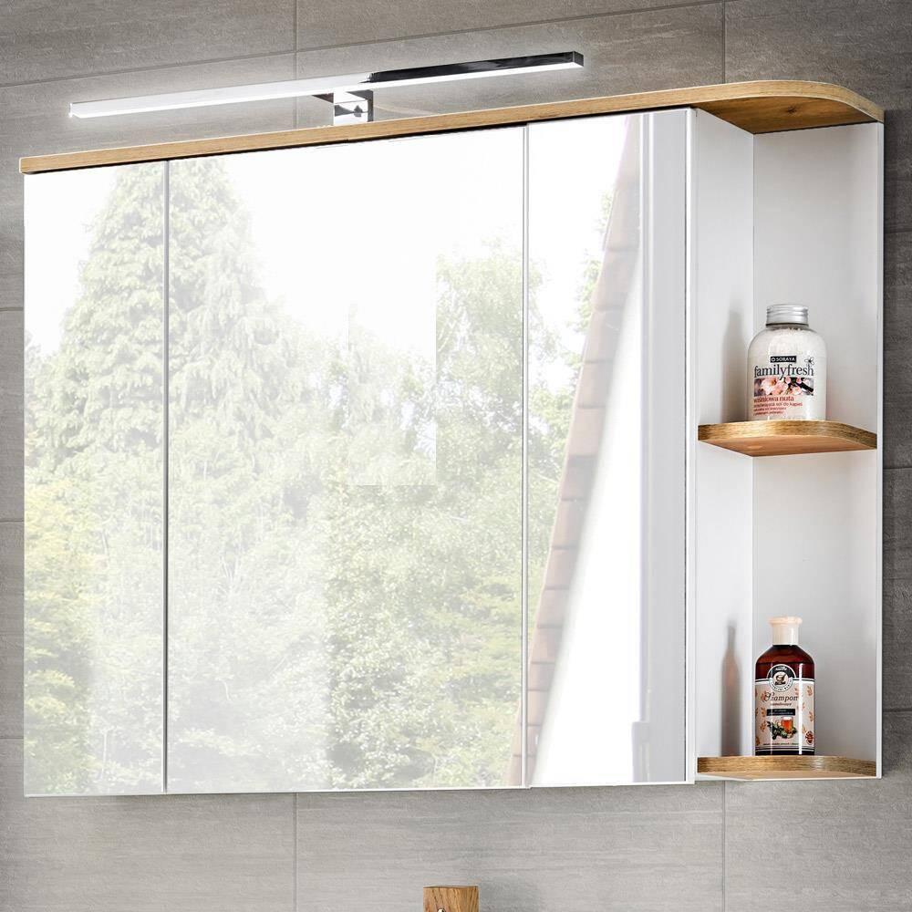 Badezimmer Spiegelschrank mit LED, 3D-Spiegeltüren, CAMPOS-56 weiß mit Wotaneiche, B x H x T ca. 94 x 71 x 50 cm