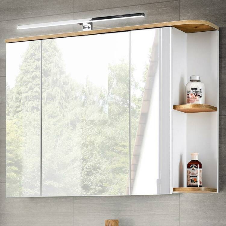 Badezimmer Spiegelschrank mit LED, 3D-Spiegelt�ren, CAMPOS-56 wei� mit