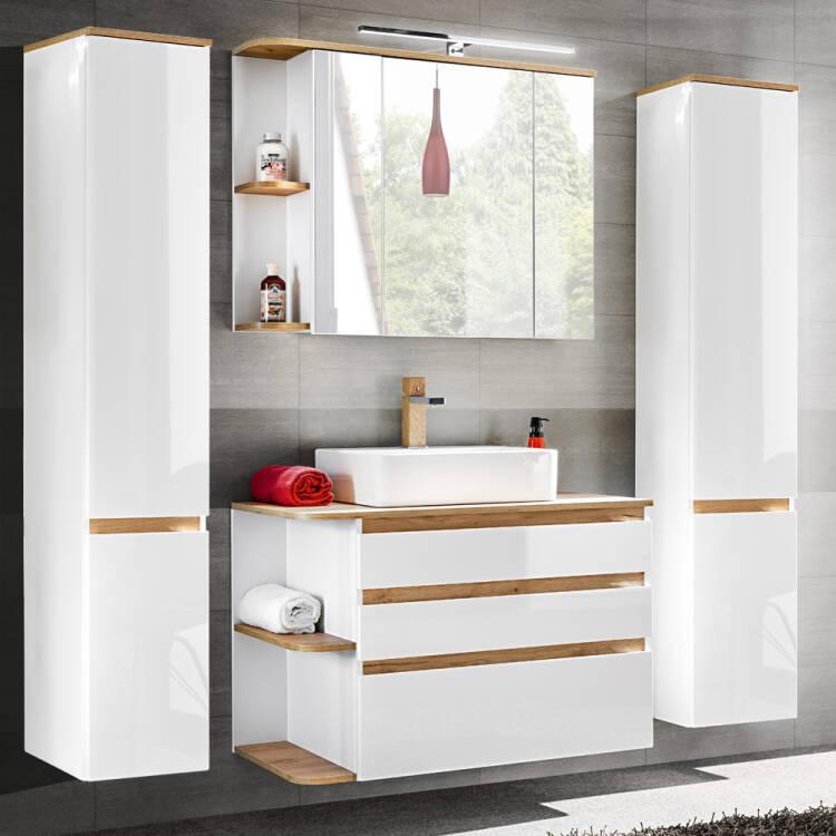 Badezimmer Spiegelschrank mit LED, 3D-Spiegeltüren, CAMPOS-56 weiß mit