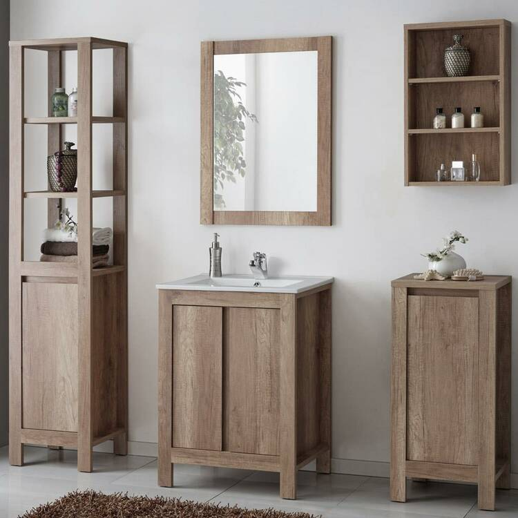 Badezimmer Möbel Set inkl. 60cm Keramik Waschbecken,