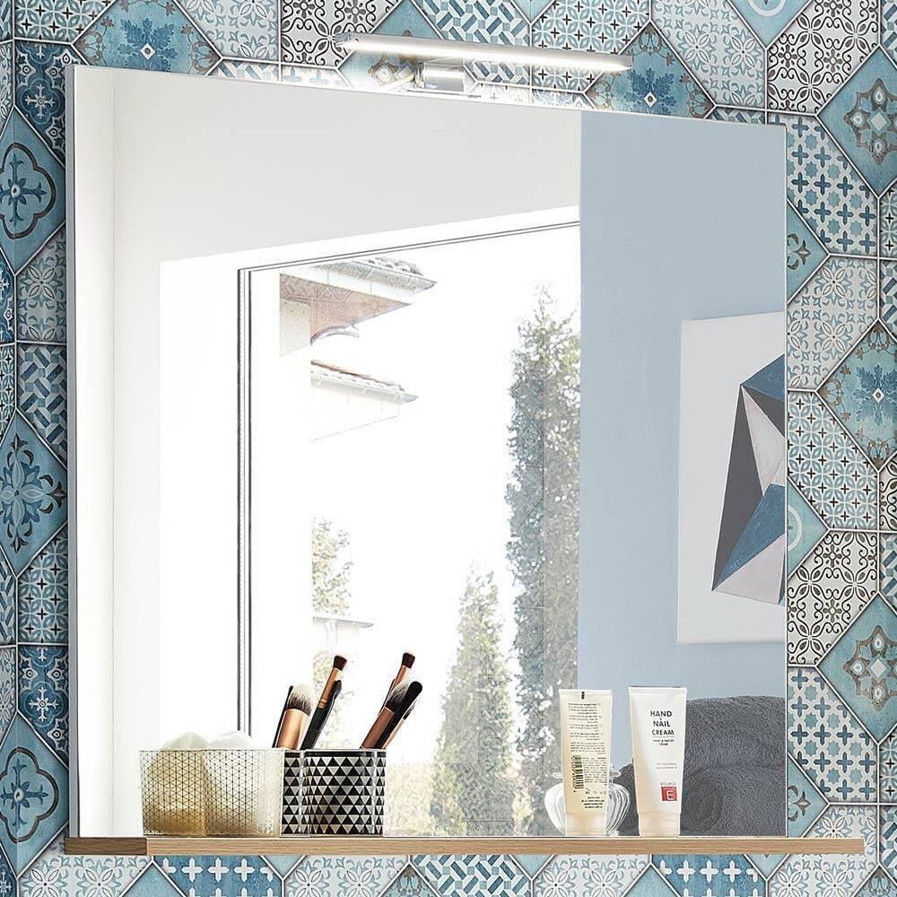 Badezimmer Spiegel mit Ablage und LED-Beleuchtu...