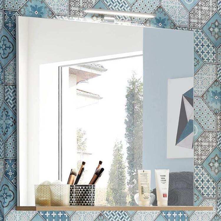 Badezimmer spiegel mit ablage und led beleuchtung lub for Spiegel ablage badezimmer