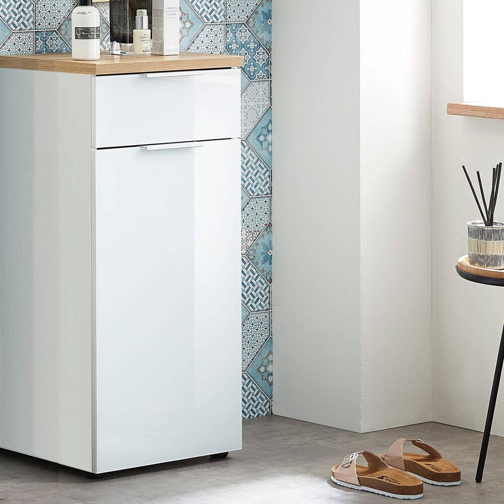 Badezimmer Unterschrank mit Glasfront LUBLIN-01 in Weiß/Navarra-Eiche-Nb. BxHxT ca. 39x86x34cm
