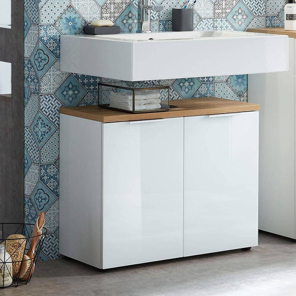 Badmöbel Waschtisch-Unterschrank mit Glasfront LUBLIN-01 weiß mit Navarra Eiche BxHxT ca. 70x58x34cm