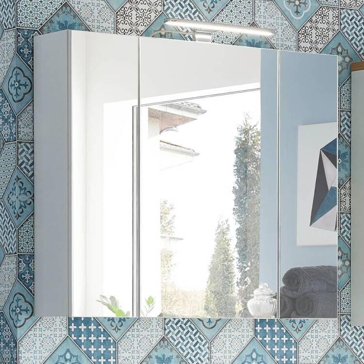 Badezimmer spiegelschrank 3 trg mit led und steckdose for Spiegelschrank mit steckdose