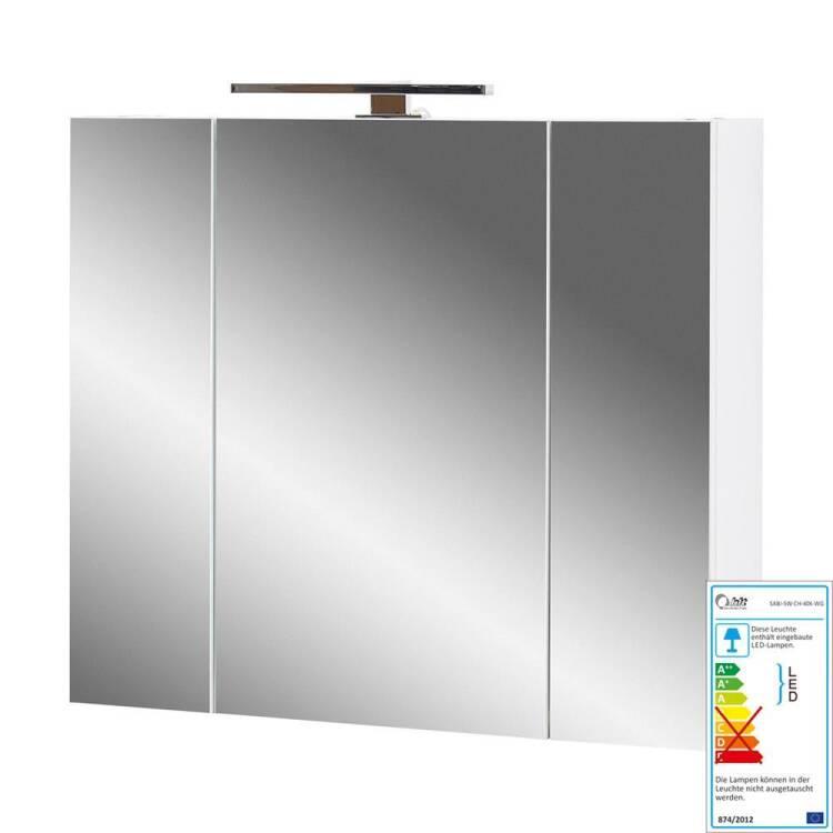 Badezimmer Spiegelschrank 3-trg mit LED und Steckdose LUBLIN-01 in weiß  BxHxT ca. 76x71x23cm