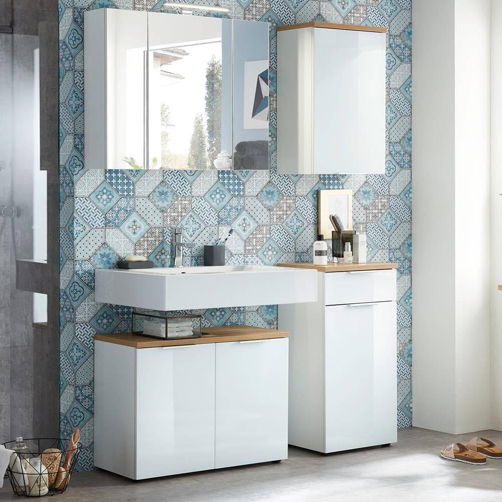 Badmöbel Set mit Glasfront LUBLIN-01 weiß mit Navarra Eiche B x H x T ca. 124 x 200 x 34 cm