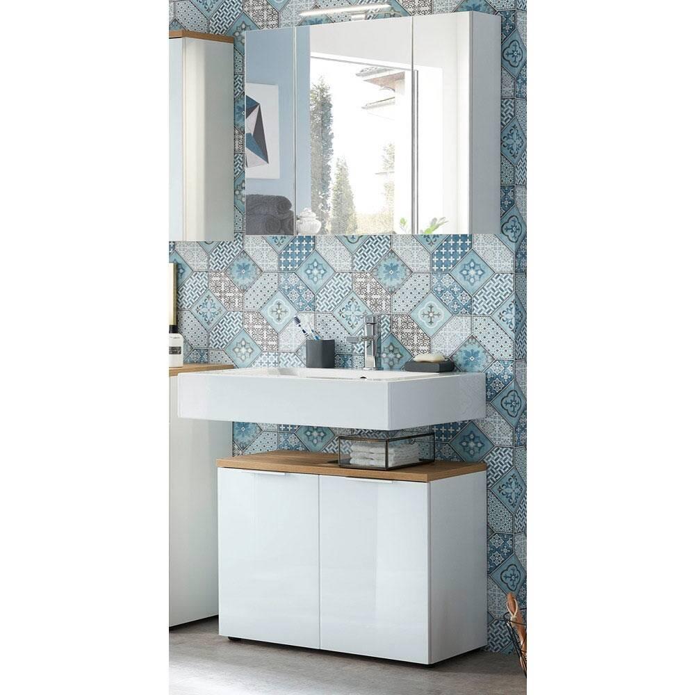 Badmöbel Waschplatz Set mit LED-Spiegelschrank LUBLIN-01 Glasfront weiß, Navarra Eiche