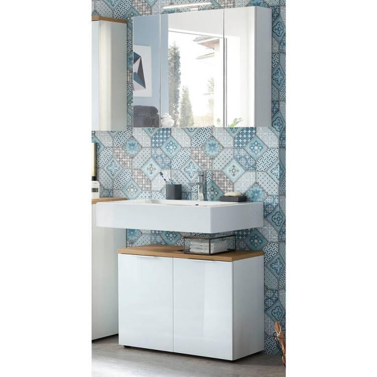 Badm bel waschplatz set mit led spiegelschrank lublin for Badmobel set mit spiegelschrank