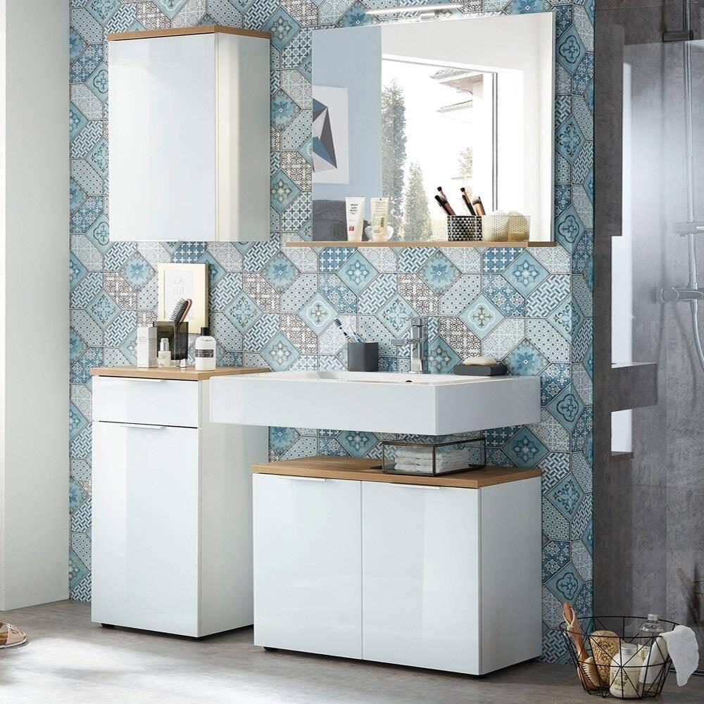 Badezimmermöbel Set mit weißer Glasfront LUBLIN-01 LED-Spiegel, Absetzung Navarra Eiche