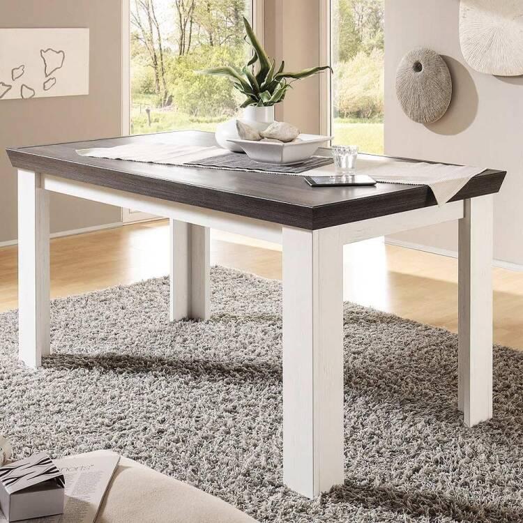 esstisch im landhaus stil pinie wei nb salara 61 b. Black Bedroom Furniture Sets. Home Design Ideas