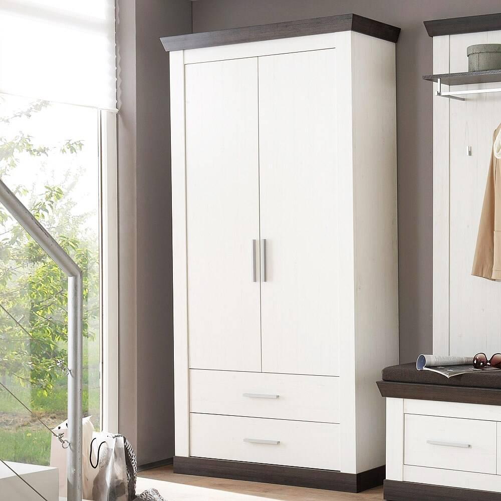 Garderobenschrank im Landhaus Stil Pinie weiß & Wenge