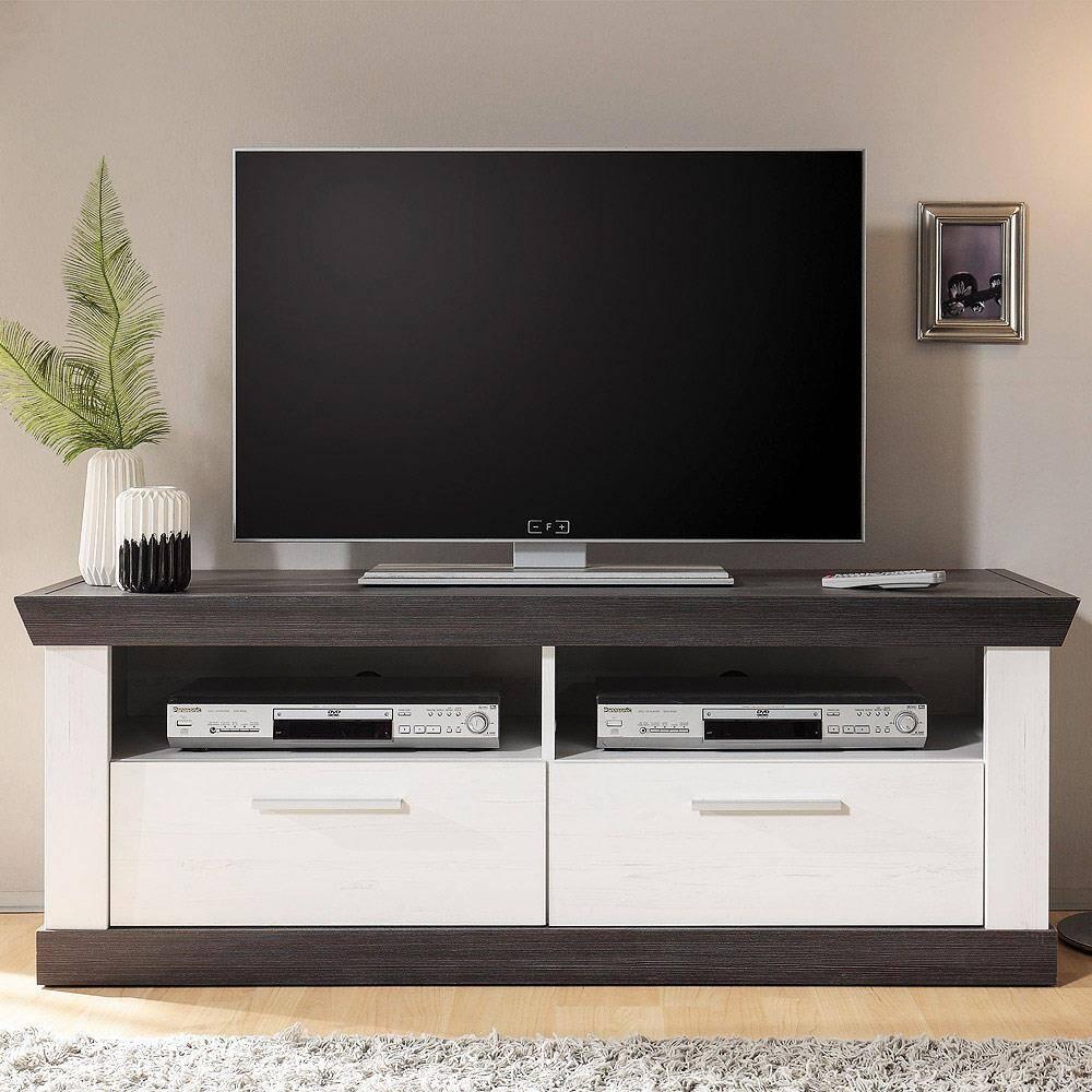 TV Lowboard im Landhaus Stil in Pinie weiß & Wenge Nb. SALARA-61 mit 2 Schubkästen B/H/T ca. 135x51x45cm