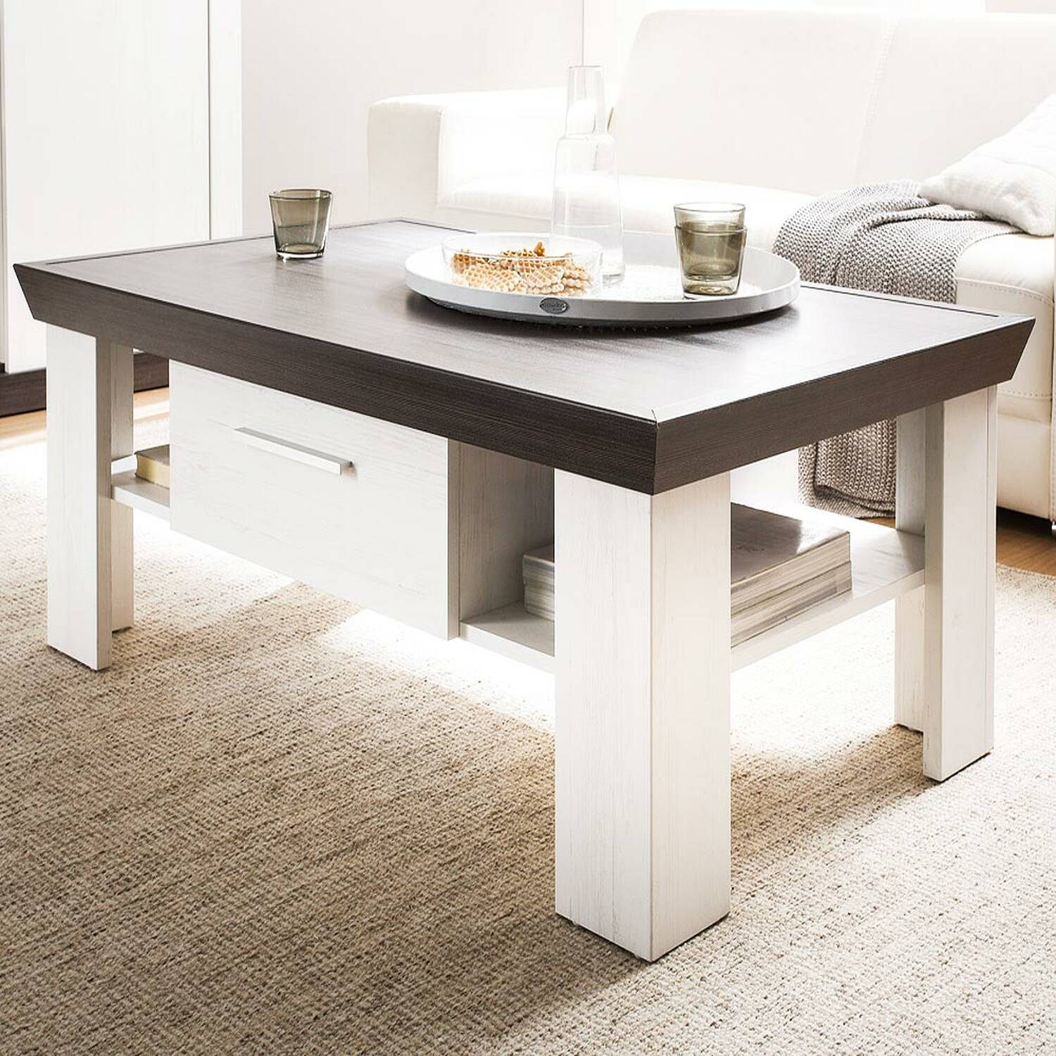 - Coffee Table In Country House Style Pine White Nb. SALARA-61 W/H/D App