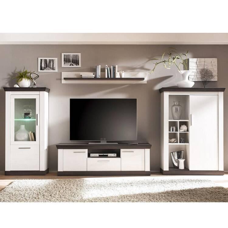 Hochwertig  10% Moderne Landhaus Wohnwand Mit LED Beleuchtung SALARA 61 Pinie Weiß U0026  Wenge Nb.