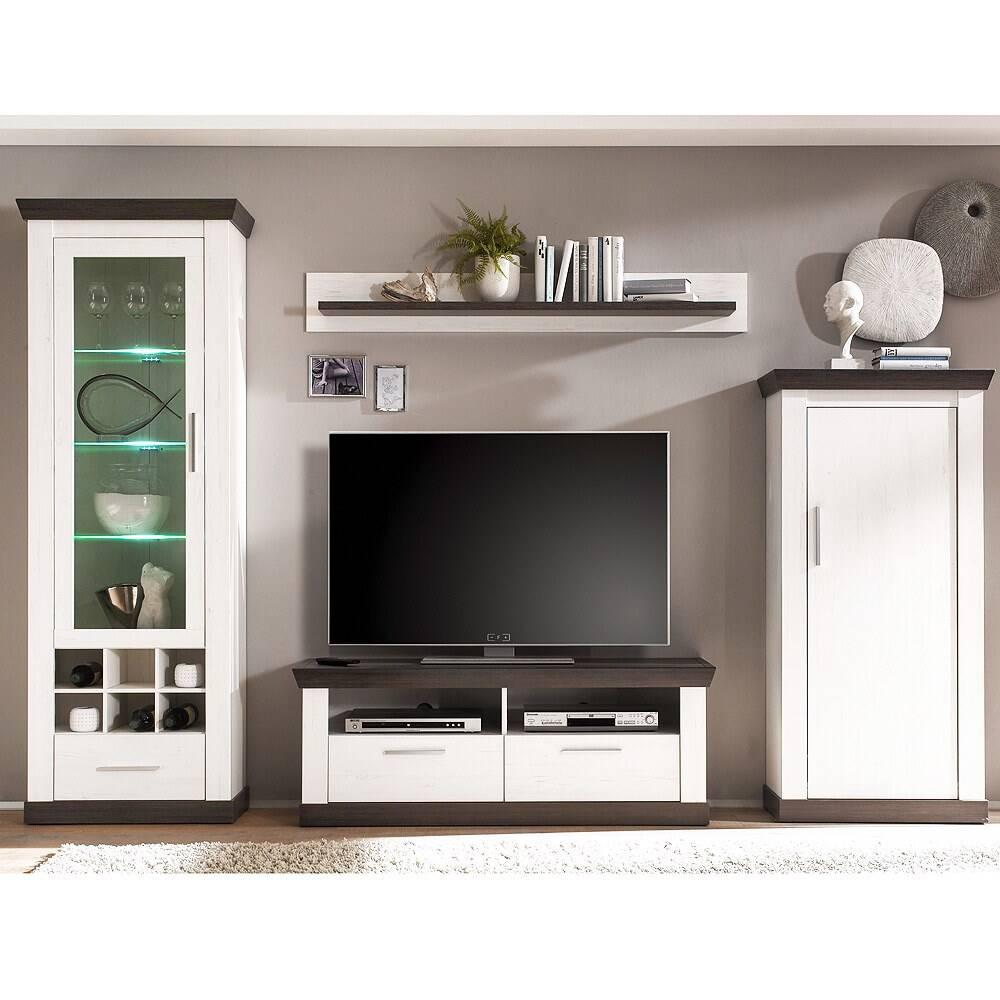 Moderne Wohnwand im Landhaus Stil Pinie weiß Nb. SALARA-61 B/H/T ca. 299x201x38-45cm