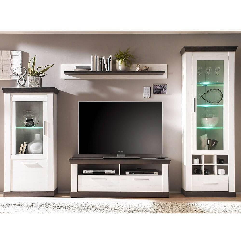 Wohnwand im Landhaus-Stil mit Standvitrine inkl. LED-Beleuchtung SALARA-61 Pinie weiß & Wenge Nb. B/H/T ca. 299x201x38-45cm