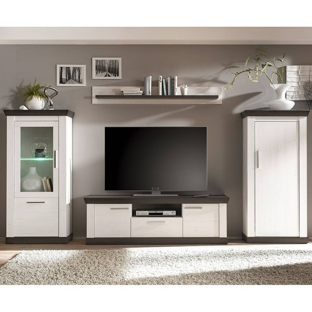 Moderne Wohnwand im Landhaus Stil SALARA-61 in Pinie weiß mit Wenge Nb. B/H/T ca. 322x170x38-45cm