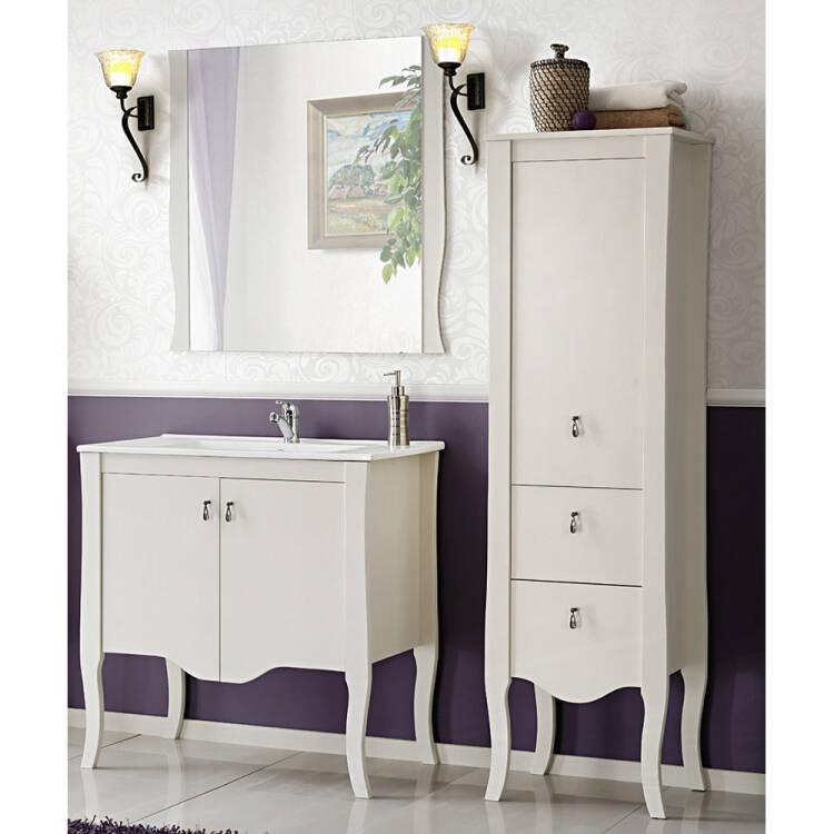 Badezimmer Wand-Spiegel 60 cm mit weißem Rahmen ELSA