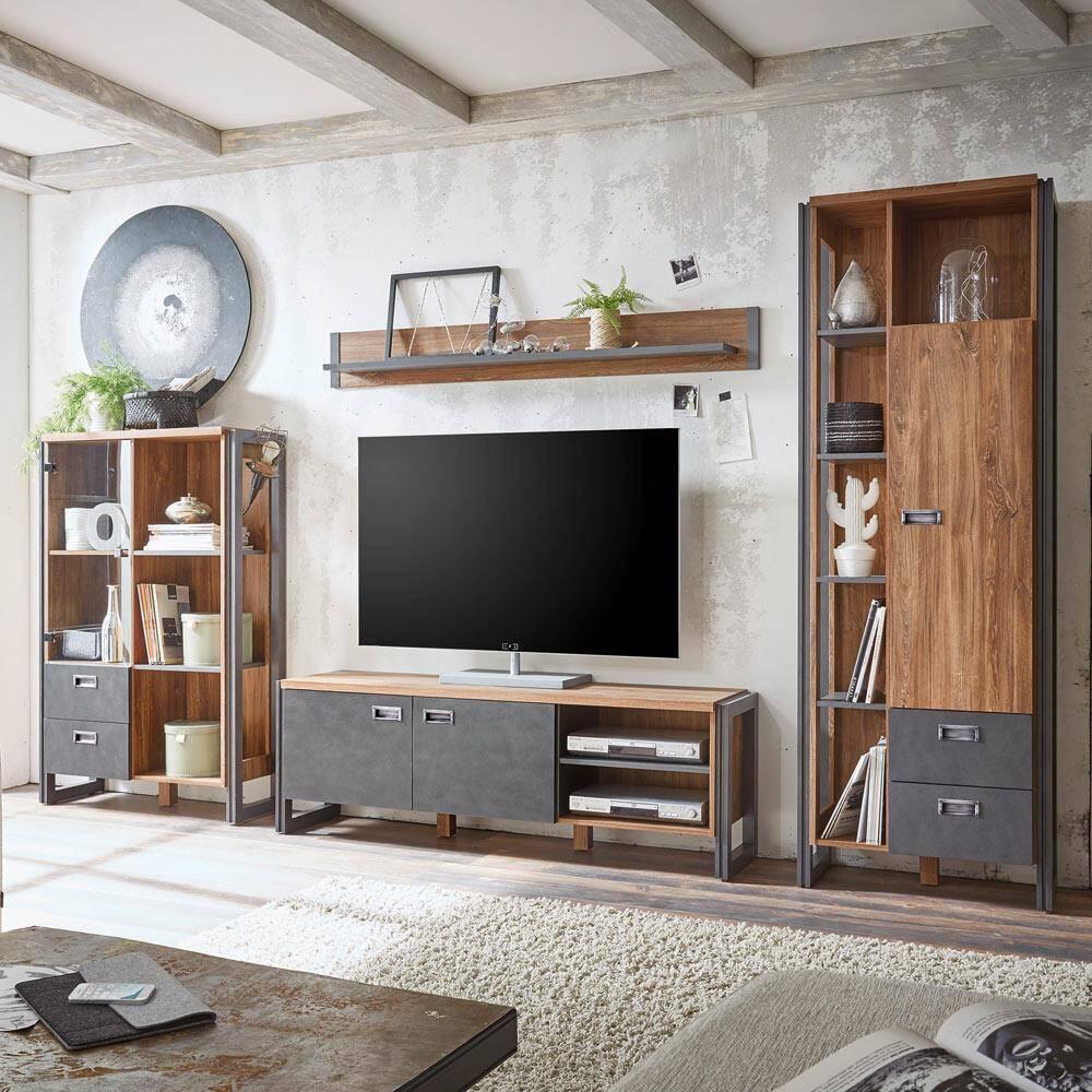 Wohnwand im Industrial Stil DALLAS-61 mit Matera Anthrazit und Stirling Oak Nb. B/H/T ca.: 340x202x35-39 cm