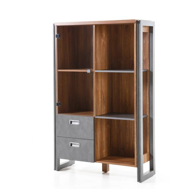 Highboard DALLAS-61 im Industrial Stil in Stirling Oak Nb. und Absetzungen Matera Anthrazit B/H/T ca.: 90x140x35 cm