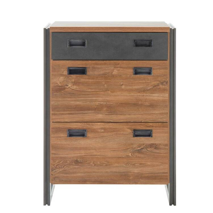 Schuhschrank im Industrial Design DALLAS-61 Stirling Oak Nb. mit Matera Anthrazit B/H/T ca. 75x100x40cm