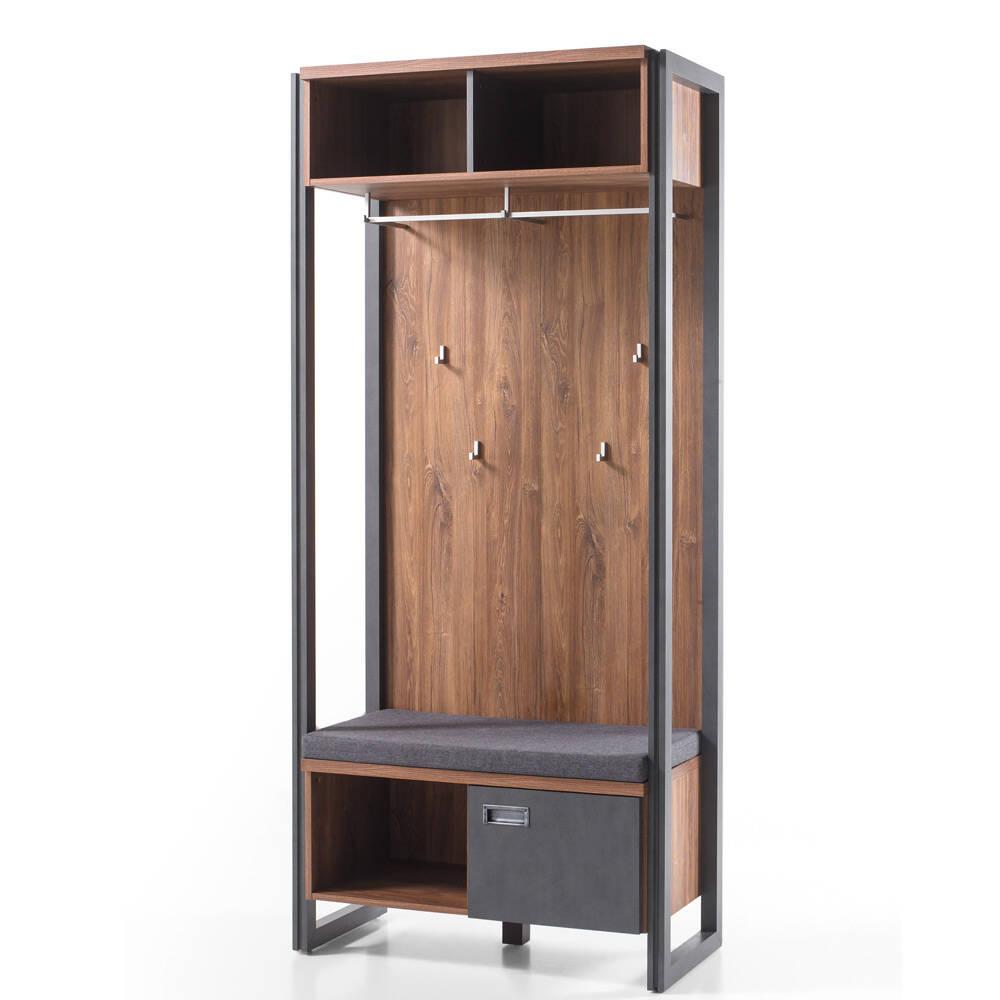 Kompakt-Garderobe im Industrial Stil inkl. Sitz...