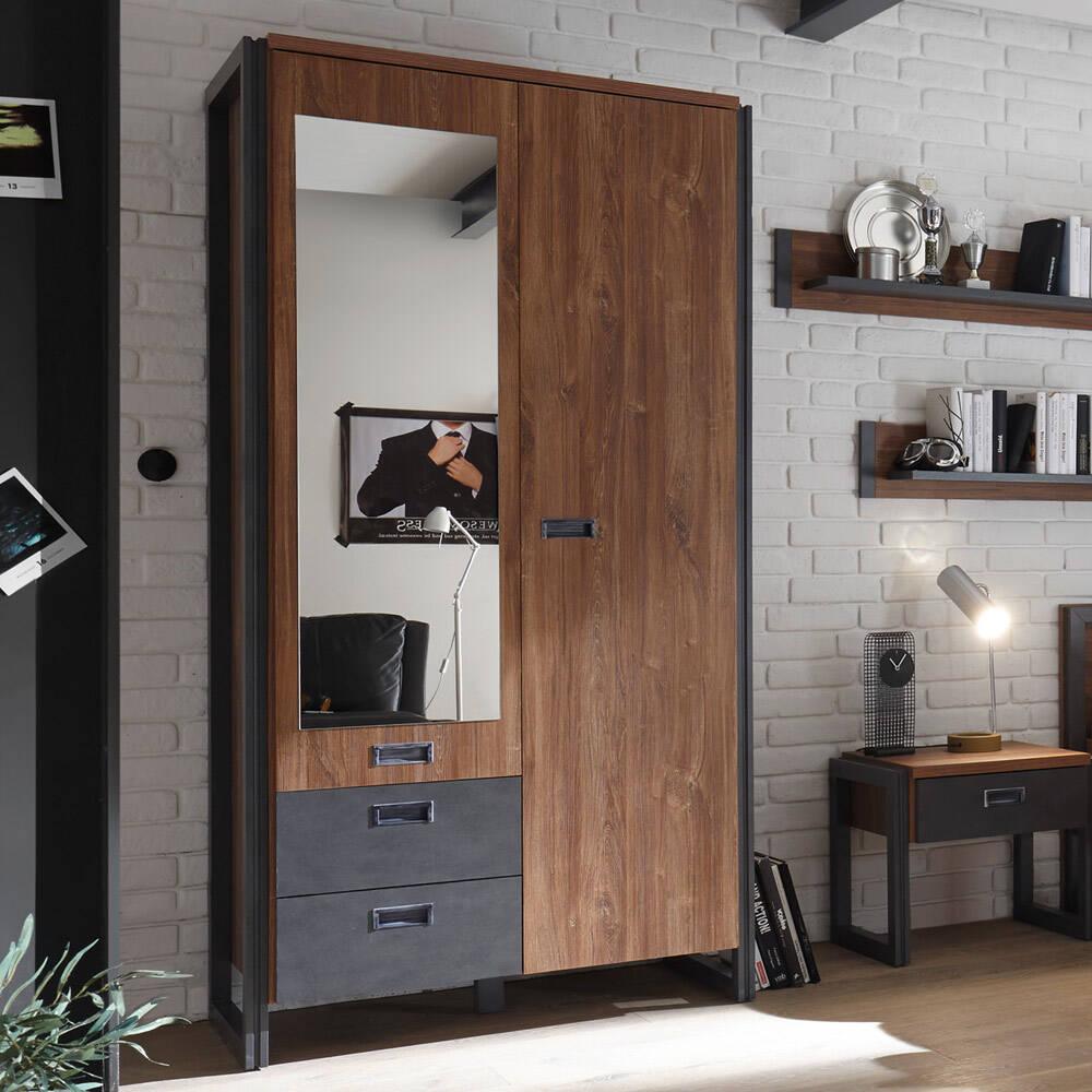 Kleiderschrank Dielenschrank im Industrial Design DALLAS-61 Stirling Oak Nb. mit Matera Anthrazit B/H/T ca.: 99x202x60 cm