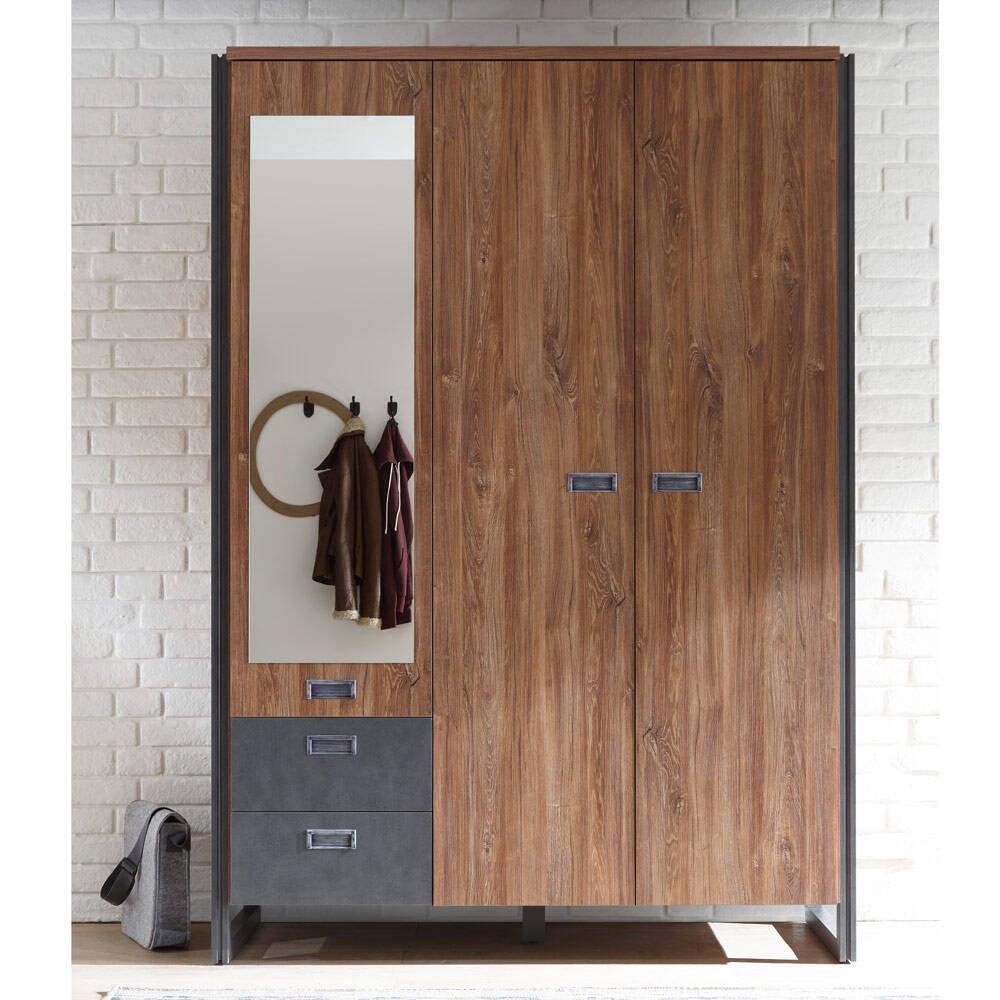 Kleiderschrank 143cm DALLAS-61 3-türig im Industrial Stil in Stirling Oak Nb. und Matera Anthrazit B/H/T ca.: 143x202x60 cm