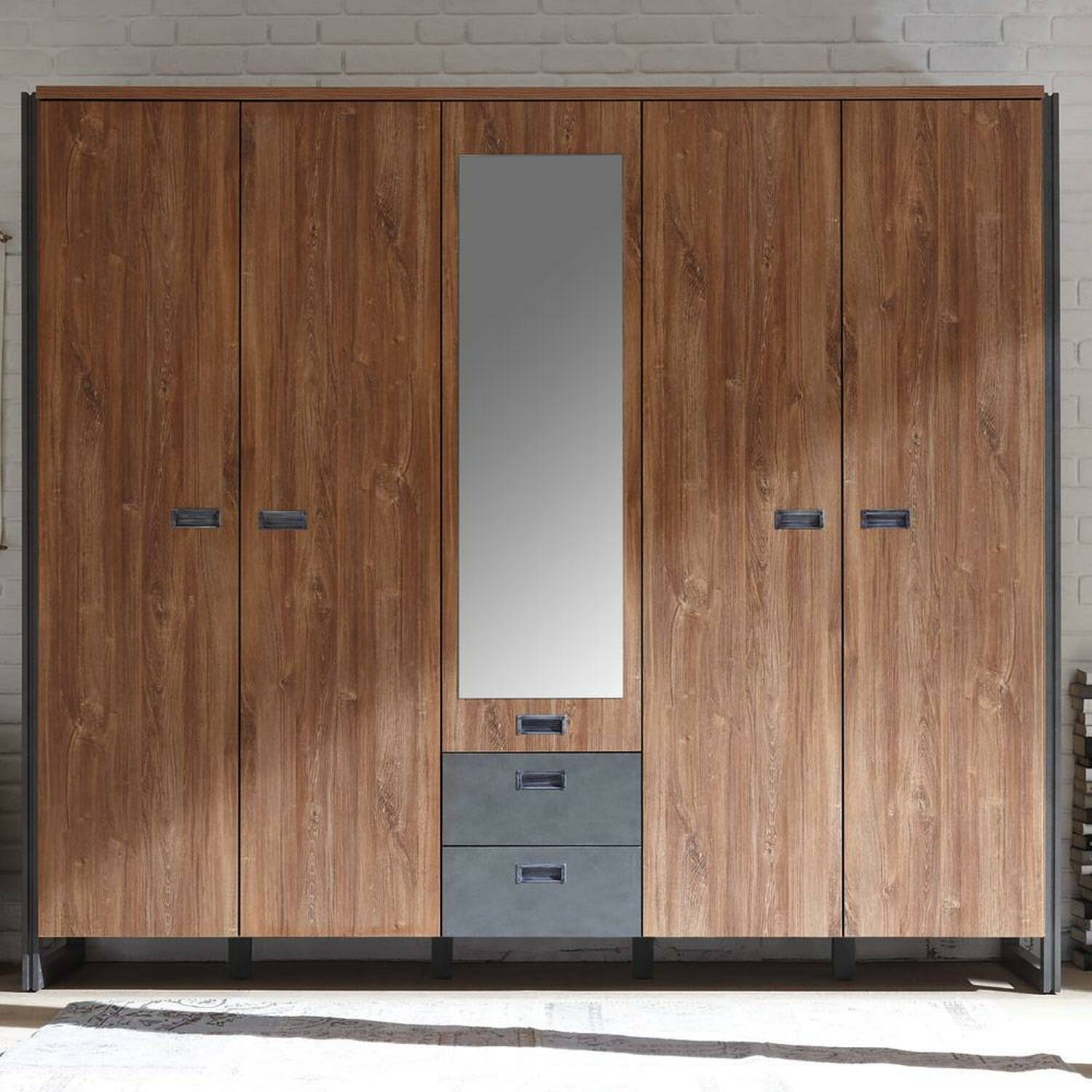 Kleiderschrank 232cm im Industrial Stil Matera Anthrazit DALLAS-61 Stirling Oak Nb. B/H/T ca.: 232x202x60 cm
