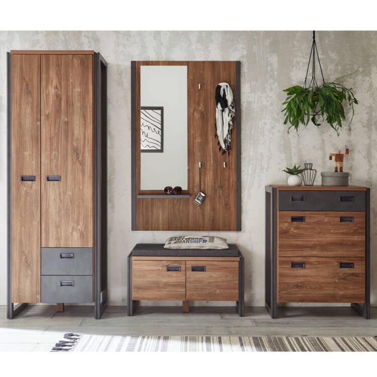 flur garderoben set im industrial stil mit dielenschr. Black Bedroom Furniture Sets. Home Design Ideas