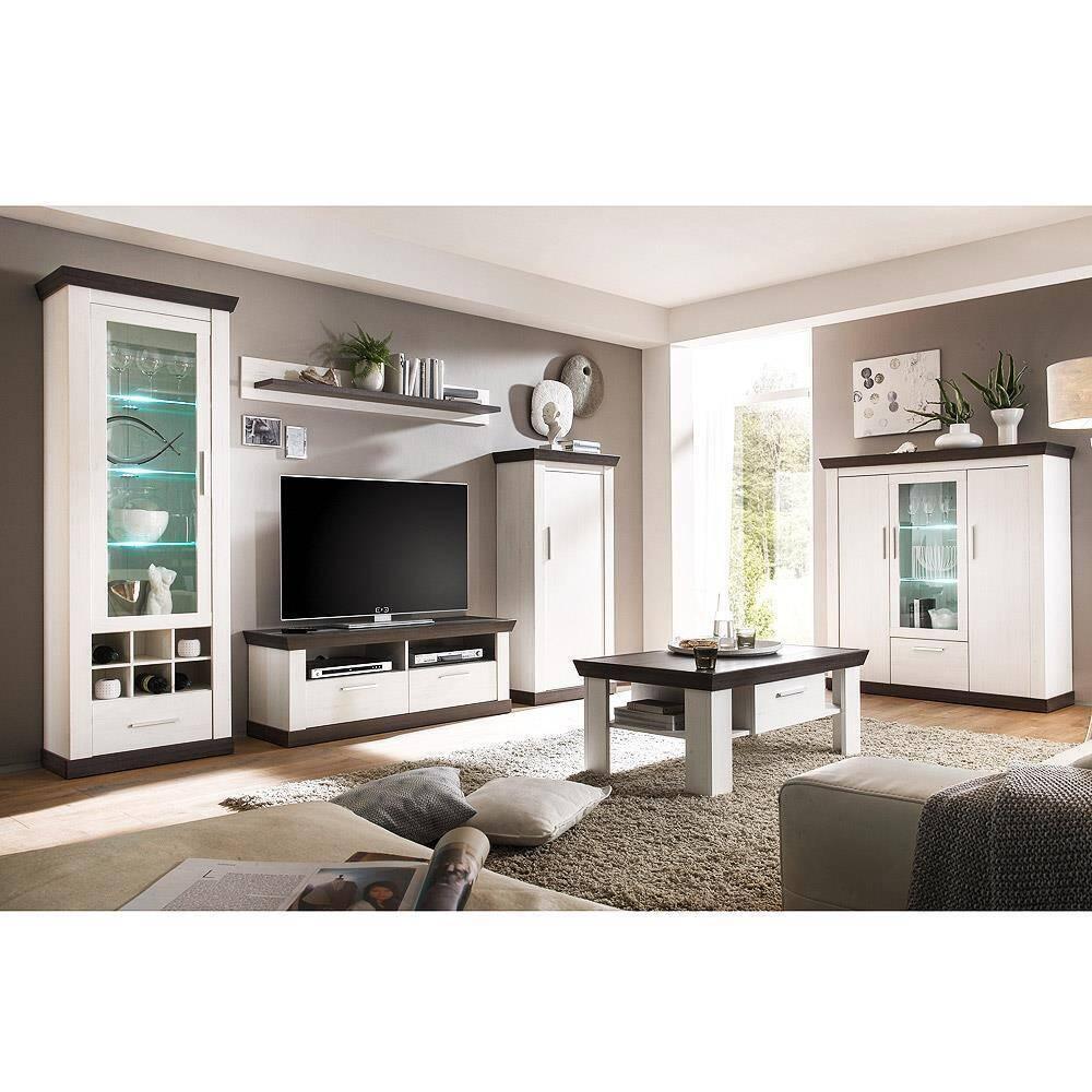 Wohnzimmermöbel Set inkl. Couchtisch und Highboard SALARA-61 in Pinie weiß & Wenge Nb.