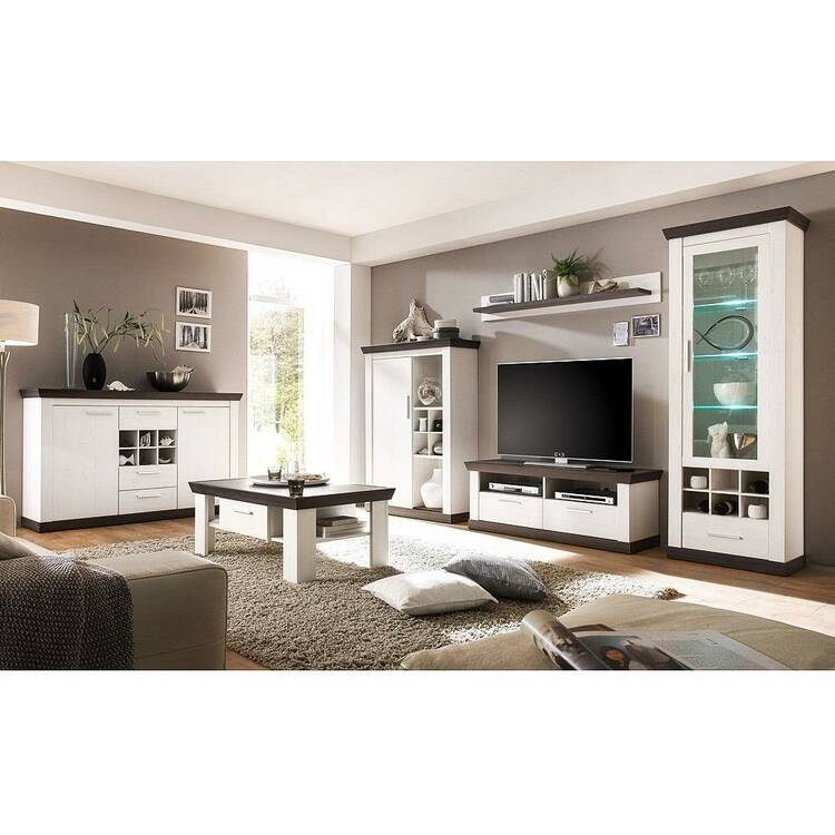 Wohnzimmer Wohnwand Set inkl. Sideboard & Couchtisch in Pine weiß & We