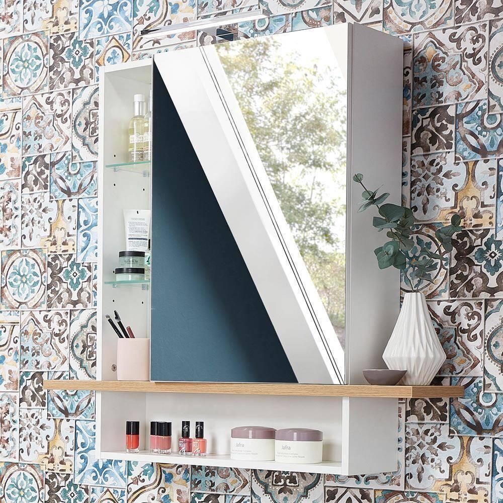 Badezimmer Spiegelschrank mit LED-Beleuchtung SOPOT-01 in weiß mit Navarra-Eiche-Nb. BxHxT ca. 90x91x25cm