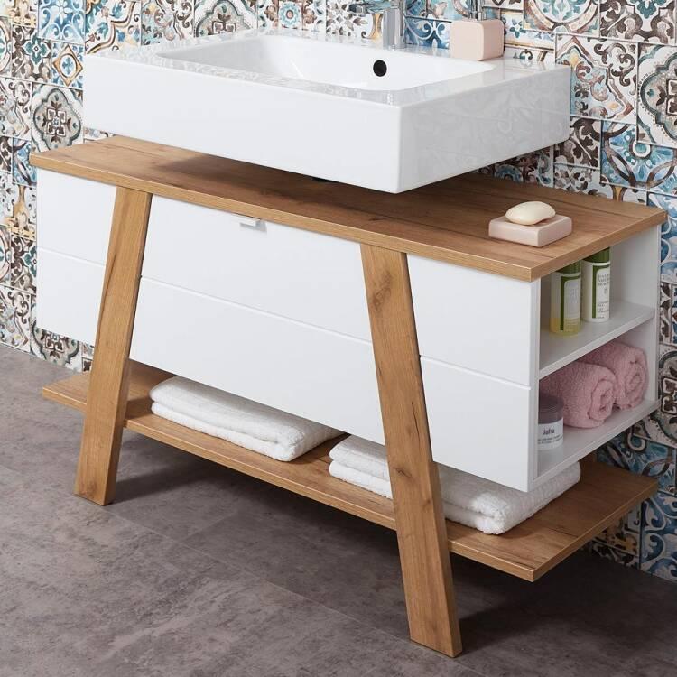 Badezimmer Waschbecken-Unterschrank SOPOT-01 in supermatt weiß mit Nav