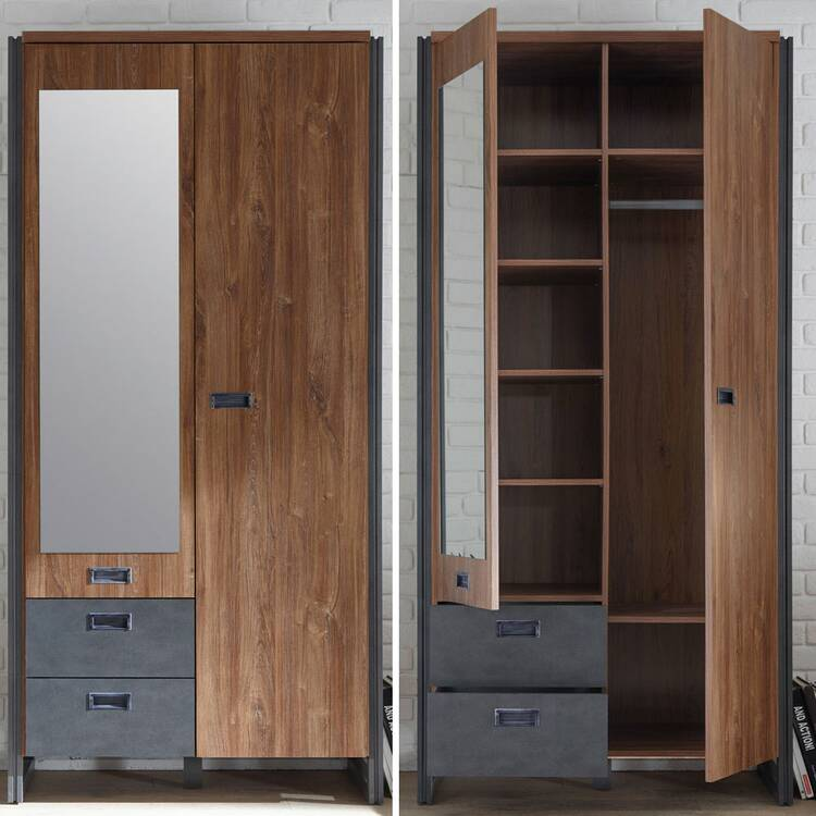 Industrial-Design Flur Garderoben Set mit Dielenschrank DALLAS-61 in Stirling Oak Nb mit Matera Anthrazit B x H x T ca.: 283 x 202 x 45 cm
