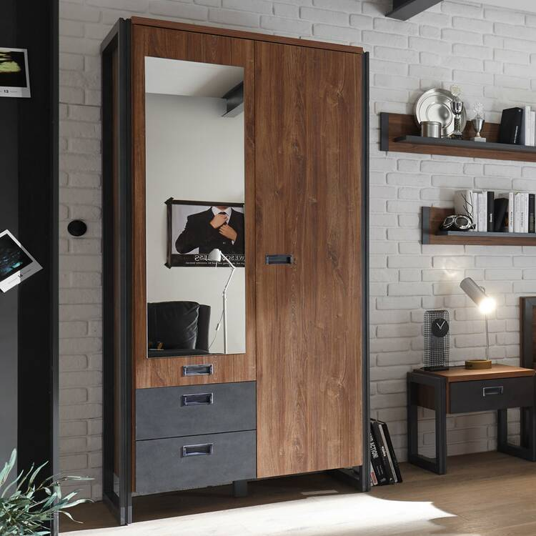 Garderoben-Set im Industrial-Design DALLAS-61 Dielenschrank & Kompaktgarderobe in Stirling Oak Nb. mit Matera Anthrazit B x H x T ca.: 209 x 202 x 45 cm