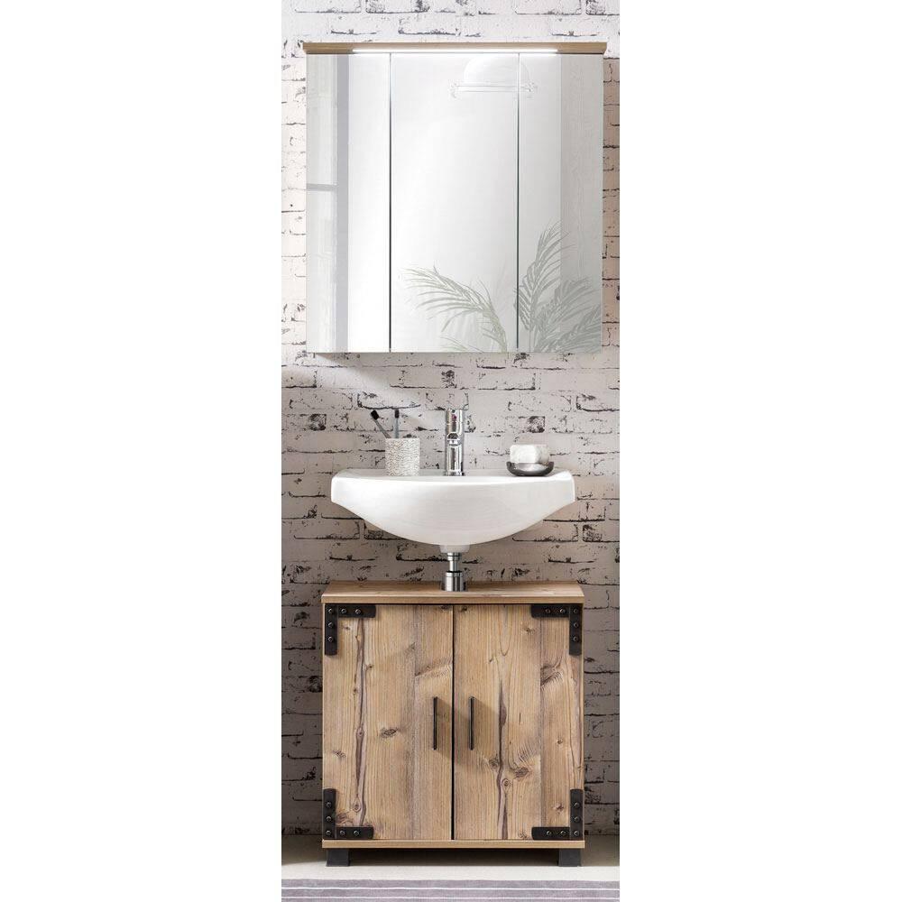 Badezimmer Waschplatz Set 2-tlg inkl. LED-Spiegelschrank TOULOUSE-04 silberfichte Nb. B x H x T ca.: 70,5 x 200 x 32,6 cm