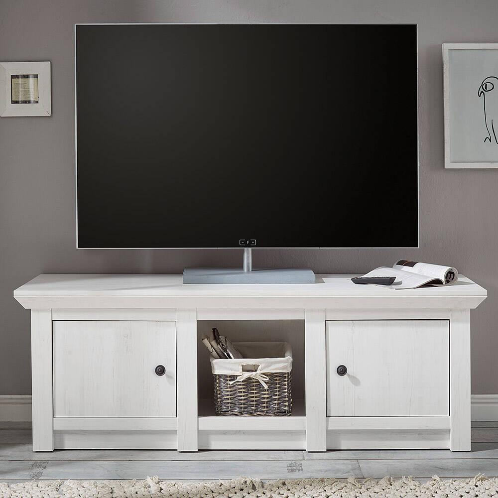 TV-Lowboard WINGST-61 im Landhaus Stil Dekor Pinie weiß Nb. B/H/T ca. 152x51x45cm