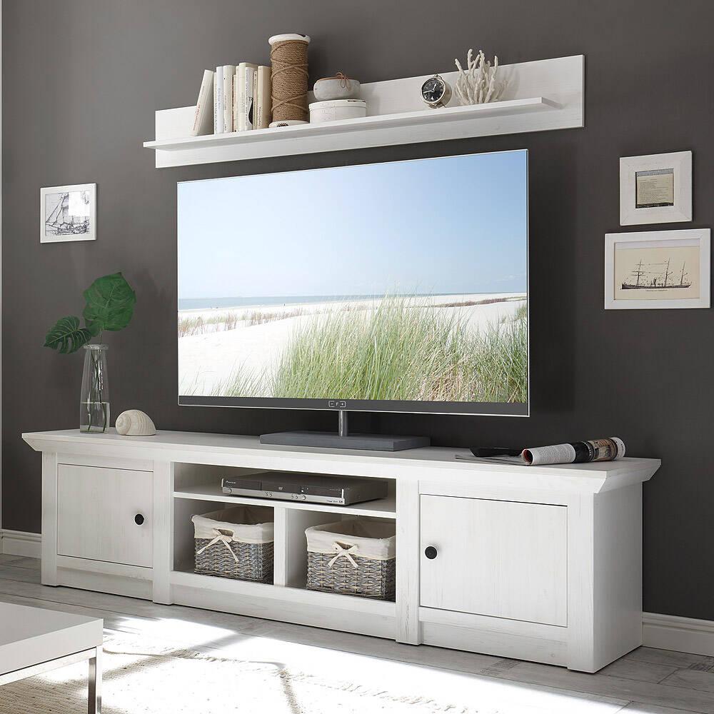 Landhaus Fernseh Lowboard WINGST-61 im Dekor Pinie weiß Nb. B/H/T ca. 194x51x45cm
