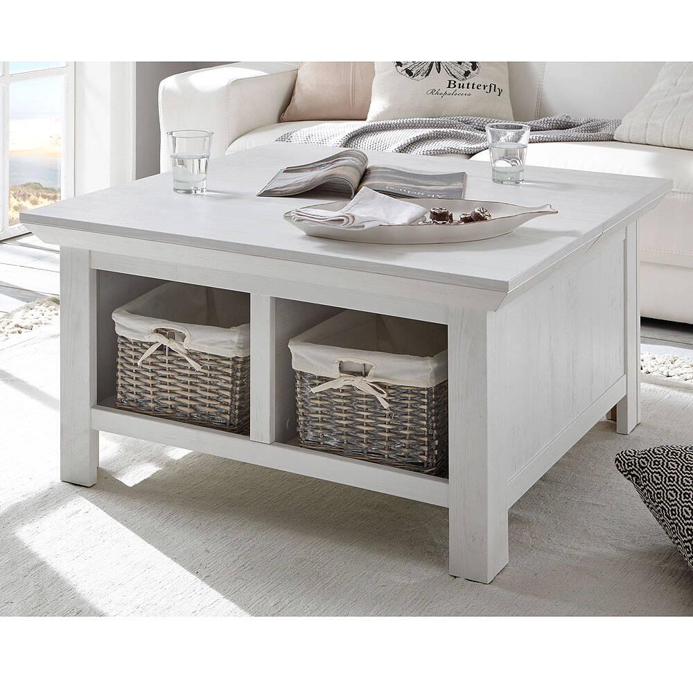 Couchtisch WINGST-61 Truhen-Tisch im Landhaus Stil Dekor Pinie weiß Nb. mit Klappe und Stauraumfach B/H/T ca. 93x50x93cm