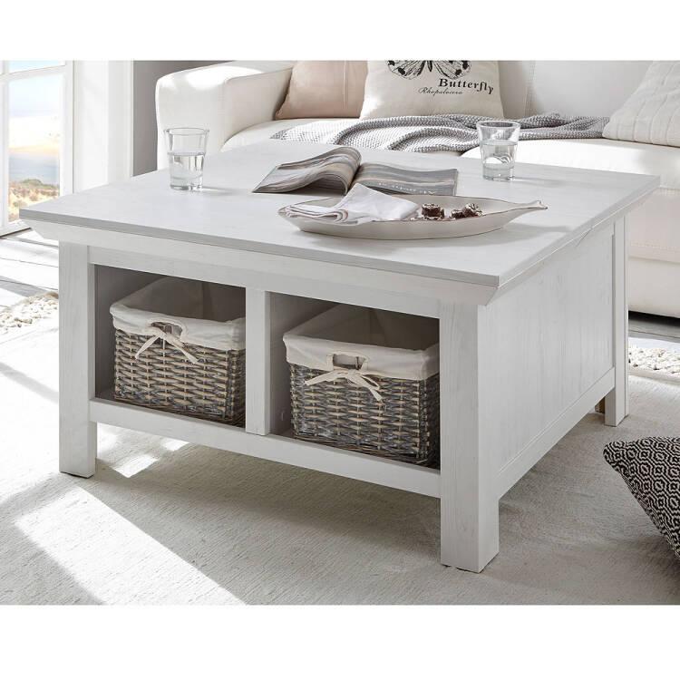 Hervorragend Couchtisch WINGST-61 Truhen-Tisch im Landhaus Stil Dekor Pinie weiß Nb OY96