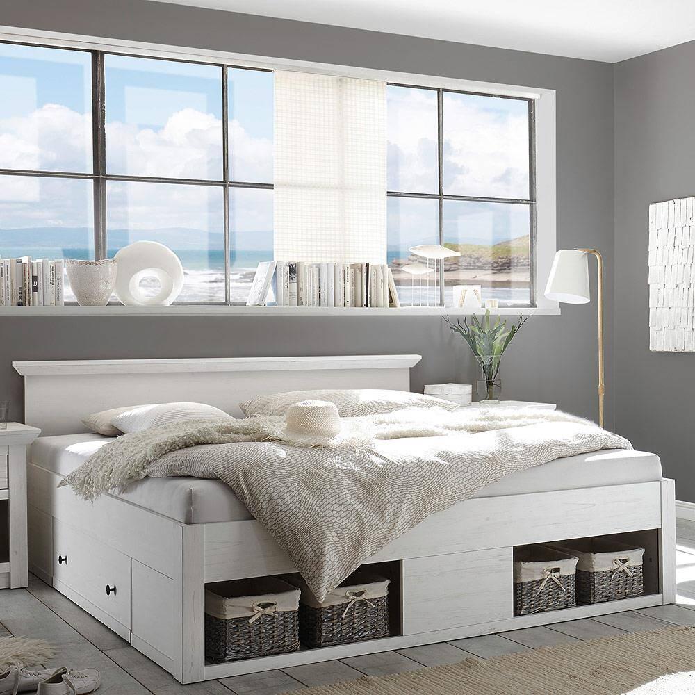 Doppelbett Ehebett inkl. 2x Bettschubkasten & 4 Körbe180x200cm WINGST-61 Pinie weiß B/H/T ca. 195x92x212cm