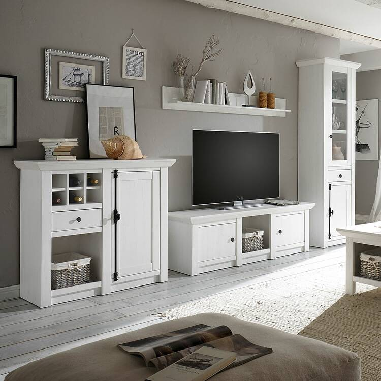 Wohnzimmer Wohnwand im Landhaus-Stil WINGST-61 Pinie weiß Nb. inkl. LE