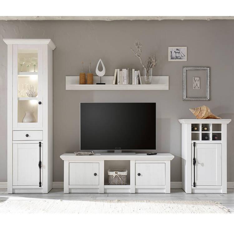12% Klassische Wohnzimmer Wand WINGST 61 Im Landhaus Stil Dekor Pinie Weiß  Nb. Inkl