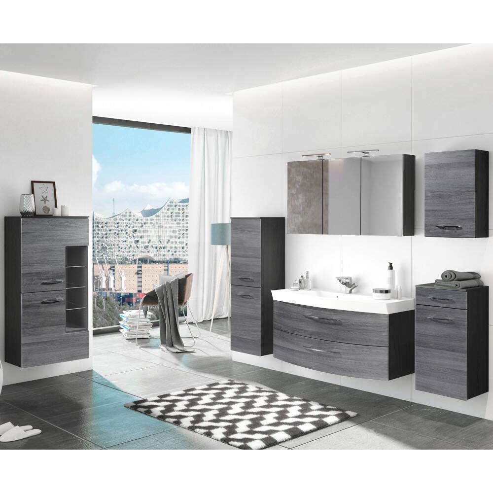 Badmöbel Set Komplett mit 120cm Waschtisch FLORIDO-03 Eiche Rauchsilber, graphitgrau, B x H x T: ca. 310 x 200 x 47 cm
